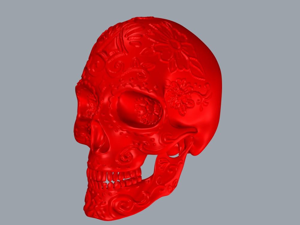 Sculpture 3D d'un crâne.