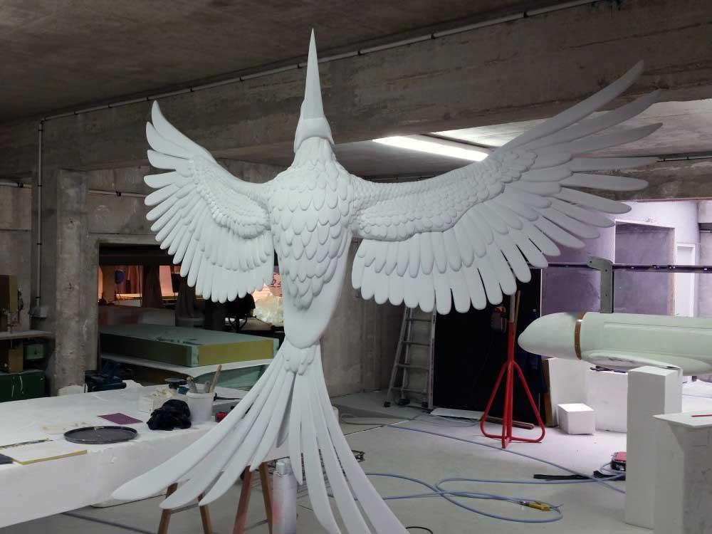Usinage 3D d'un moule perdu en mousse polyuréthane d'une sculpture de phénix.