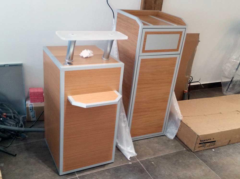 Conception et fabrication de mobilier pour Nézard en bois.